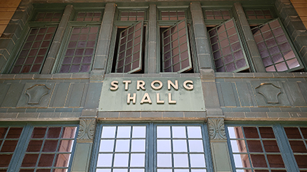 The iconic entry of Strong Hall, the administrative building of the University of Kansas